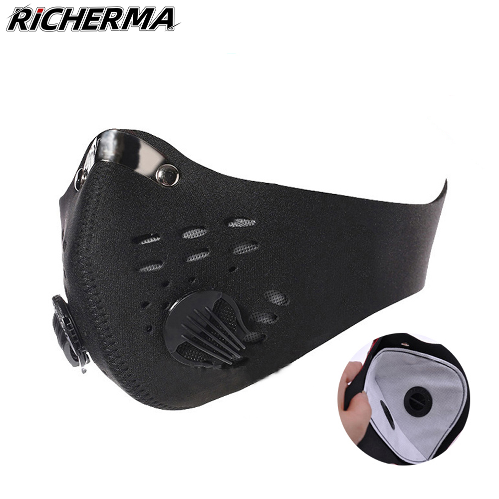 Dustproof Motorcycle Mask Breathable Filter Mouth Face Shield Outdoor Sports Motocross Biker Full Face Mask Protective Masker