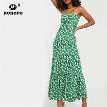 ROHOPO Strapless White Floral Green Party Midi Dress Tie Chest Female Elegant Maxi Accordion Vestido #2369