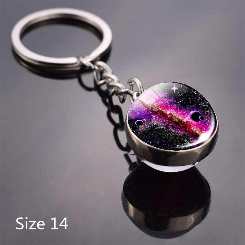 Duplo lado chaveiro sistema solar planeta chaveiro lua terra sol arte foto bola de cristal chaveiros