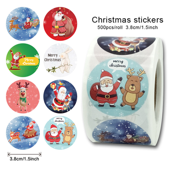 500pcs/roll Merry Christmas Stickers 1.5inch Label Sticker Cute Stickers Seal Sticker Adhesive Labels Deco Stickers Circle Round contains generic medical cannabis warning labels keep out of reach of children 1 5 round adhesive warning stickers 500pcs