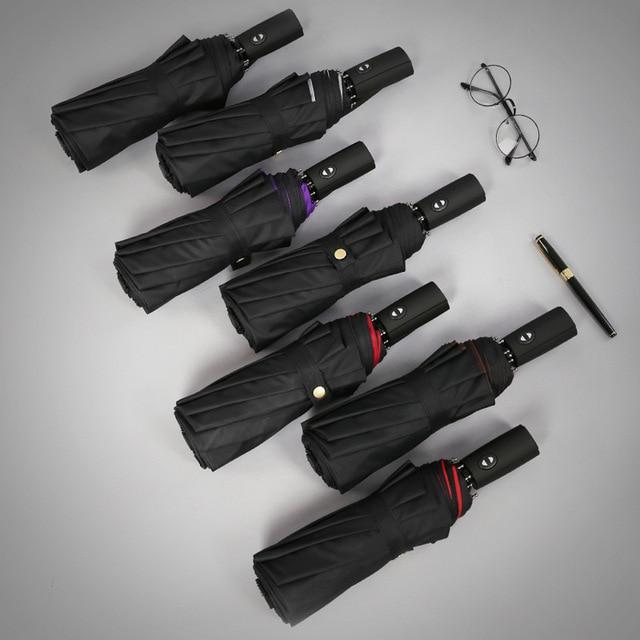 Double Layer Windproof Women's Automatic Umbrella Female Male Ten Bone Three Folding  Men's Umbrella Large Rain Business Parasol 5