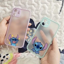 Black Cute Cartoon Stich Cellphone Translucent Matte Clear Soft For Iphone 11 12 Pro Max 7 8 Plus X Xs Max Xr Cover Fundas