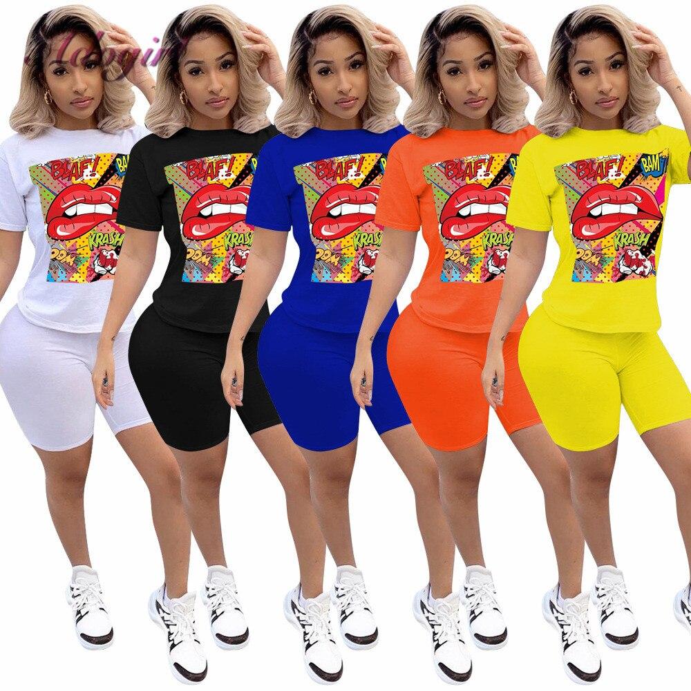 נשים ספורט אימונית שתי חתיכה להגדיר קיץ מכתב הדפסת שרוול קצר יבול למעלה TShirt מכנסיים חליפת ריצה תלבושת מועדון התאמה סט