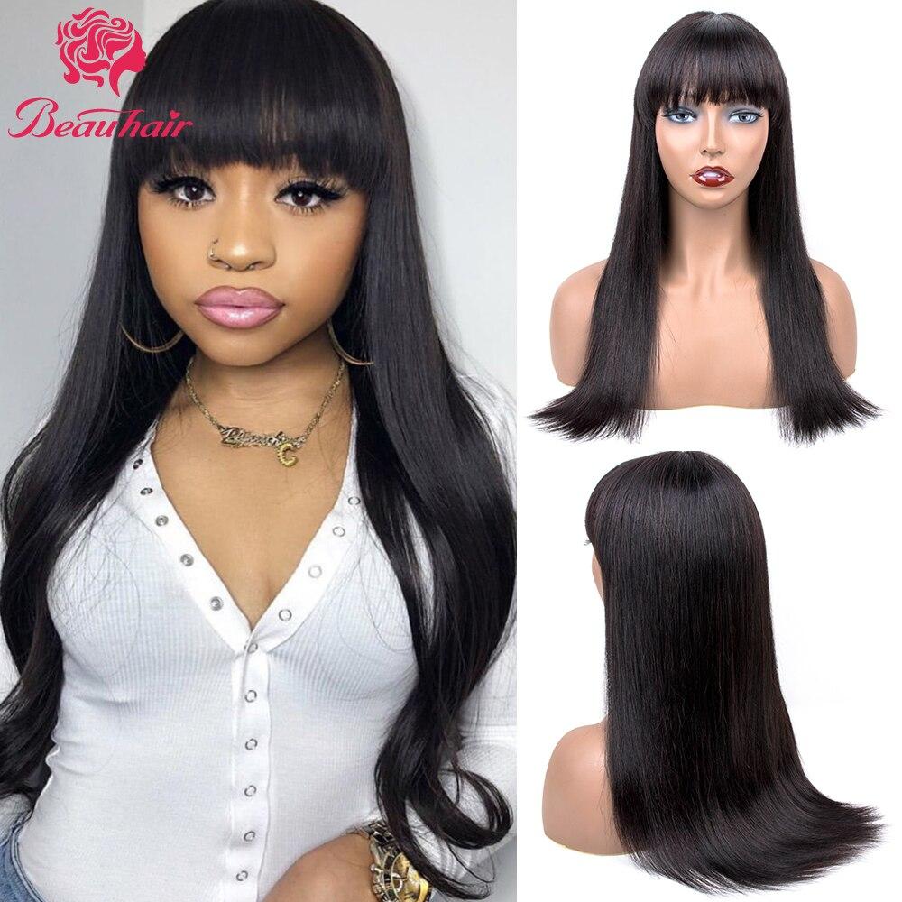 Short Human Hair Wigs Brazilian Straight Human Hair Bob Wig With Bangs Full Machine Made Wigs For Black Women  DIY Wigs Beauhair