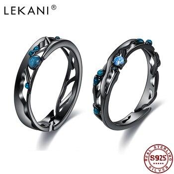 LEKANI Sterling Silver 925 Jewelry Black Rings Women Bright Cubic Zirconia Adjustable Couple Ring Vintage Bohemian Retro Gift 1