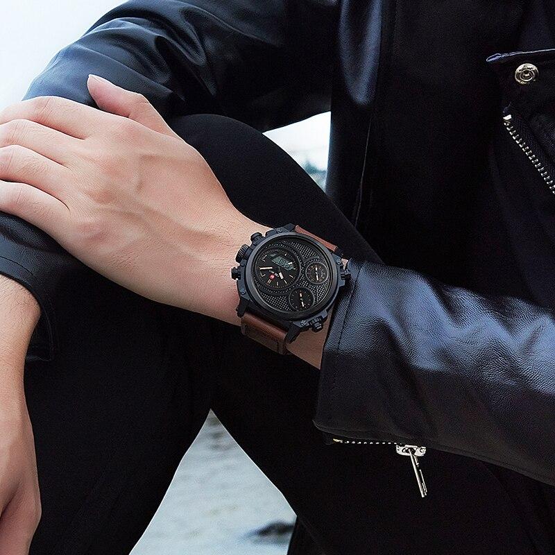KADEMAN Montre Homme повседневные мужские наручные часы несколько часовых поясов двойные военные часы Неделя кожаный ремень Relojes Para Hombre подарок - 4