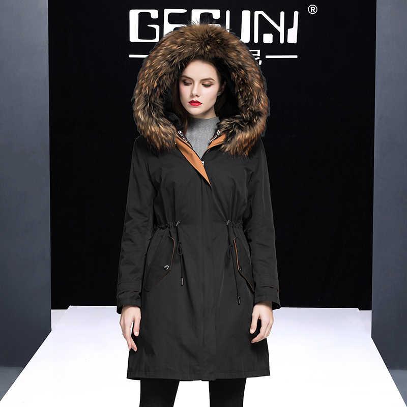 毛皮リアルコート女性の本物のウサギの毛皮のライナーパーカー冬のジャケットの女性アライグマの毛皮の襟韓国ロングトレンチコート MY3842 s
