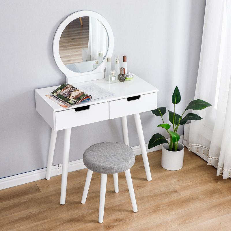 Dresser Table Mirror With Chair Set Vanity Table Makeup Stool Wooden 2 Drawers Modern Tocador Mesa Assembly Bedroom Europe HWC