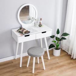Dressoir Tafel Spiegel Met Stoel Set Kaptafel Make-Up Kruk Houten 2 Lades Moderne Tocador Mesa Montage Slaapkamer Europa Hwc