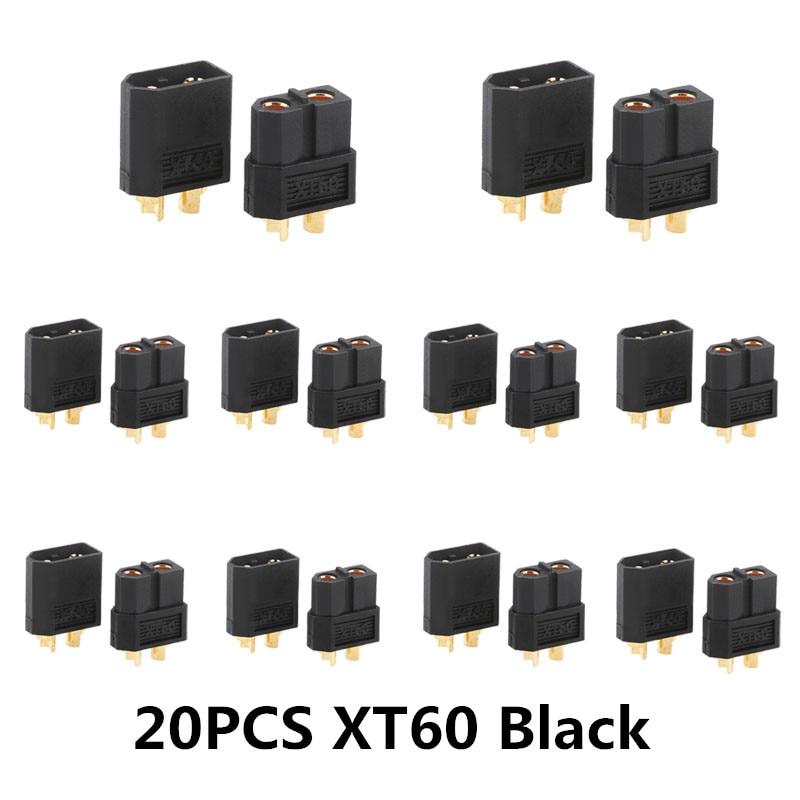 10/20 шт. XT60 черный/голубой/XT60+/XT30UPB/XT60-E/XT60-L штекерно-разъемы Вилки провод с силикатной гелевой обмоткой для Батарея Quadcopter Drone - Цвет: 20PCS XT60 Black