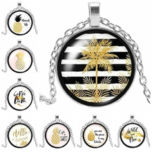 2019 New Hot Fruit and Tree Black White Striped Three-color Necklace Glass Cabochon Plant Daren Gift