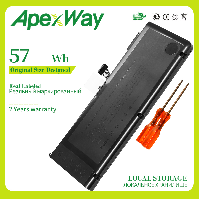 57Wh 10.95V A1382 A1286 Laptop Battery For Apple Macbook Pro 15
