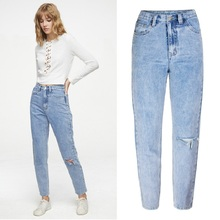 Ripped Jeans for Women Plus Size Clothes Straight Denim Blue High Waisted Distressed Jeans Sale Items Fall 2019 High Quality fashion high waisted beading ripped jeans for women