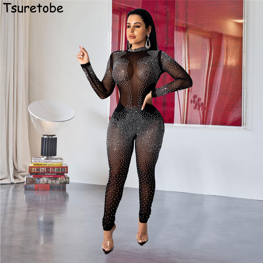 Tsuretobe Sexy Rhinestone Mesh Jumpsuit Women Perspective Long Sleeve Romper Party Club Overalls Skinny Outfits O-Neck Female