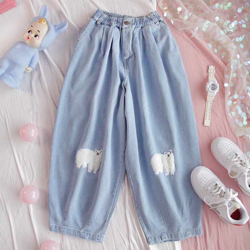 Japanese Kawaii Denim Wide Leg Pants Women Jeans High Waist Loose Casual Trousers Female Harajuku Street Cute Girls Harem Pants