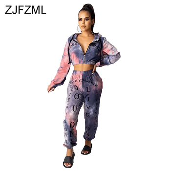 цена на Tie Dye Letter Print Sexy Two Piece Womens Tracksuit Set V Neck Front Zipper Crop Top and High Waist Pants Autumn Winter Outfits