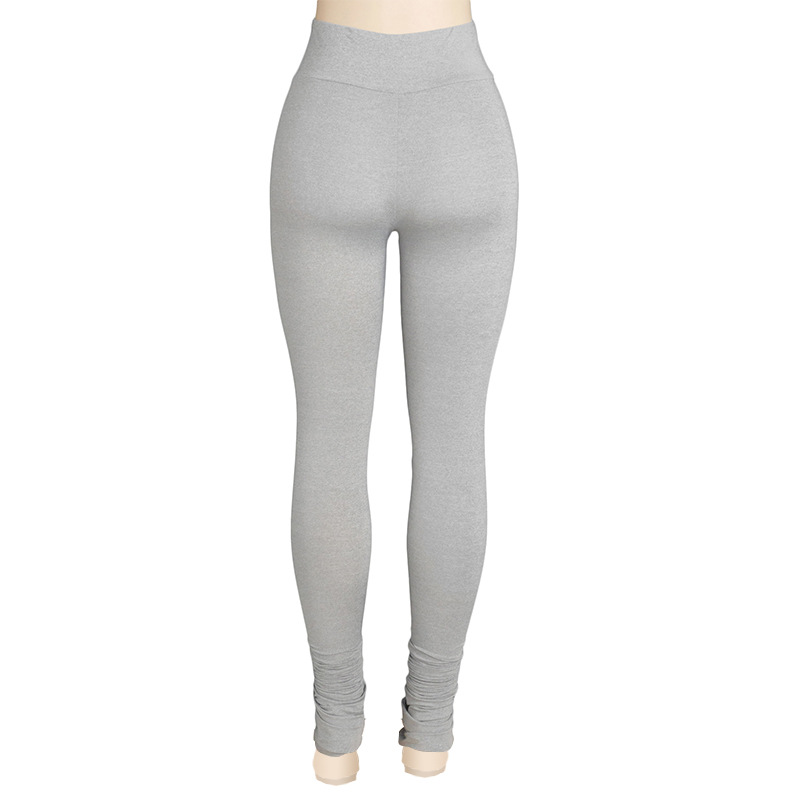 He619847aa2a44991a03e3bc515dffb59j Autumn Solid Color High Waist Stacked Leggings Pants for Women Skinny Trousers Sweatpants Sexy Draped Ruched Pants Streetwear