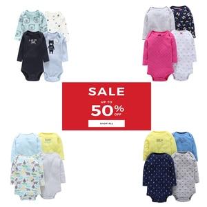 Image 1 - ארוך שרוול בגד גוף לתינוק ילד יוניסקס חדש נולד גוף חליפת תינוקת בגדי 4 יח\סט כותנה יילוד bodysuits 2020 אופנה