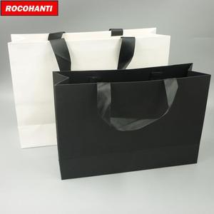 Image 3 - 100X מותאם אישית לוגו מודפס יוקרה בוטיק קניות נייר שקית מתנה עם סרט ידיות שחור חום לבן צבע