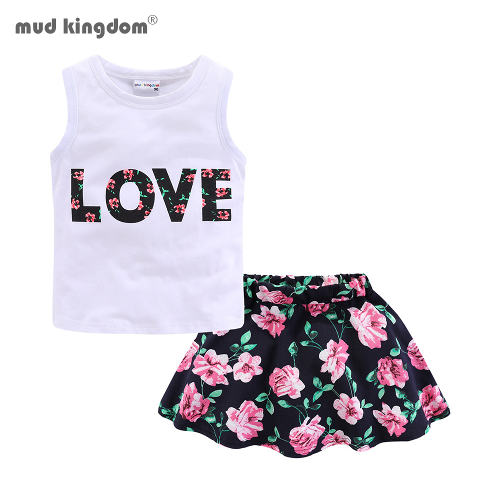Mudkingdom Girls Clothes Set Love Summer Kids Tank Top and Skirt Outfit Children Cute Suits Fashion Happy Holiday Easter 1