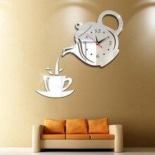Home Living Coffee Cup Acrylic Mirror Wall Art Stickers Decor Clock DIY Teapot Wall Clock Watch Decoration CMS02 diy wall clock acrylic mirror stickers art home decoration