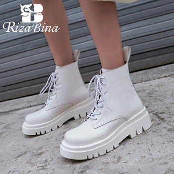 RIZABINA Size 34-43 2021 INS Woman Real Leather Ankle Boots Lace Up Shoes Woman Short  Winter Warm Boots Platform Heel Footwear