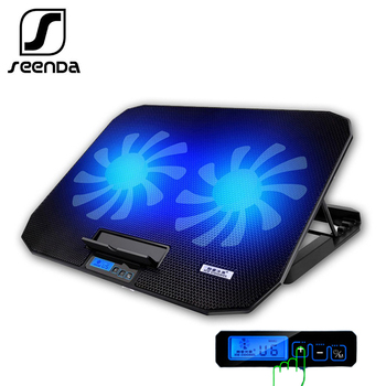 """SeenDa Desk Adjustable Laptop Stand Support 12"""" To 17"""" With 2 Fans USB Cooling Heat Dissipation Stand Holder For Notebook"""