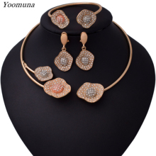 Luxury Nigerian Jewelry sets For Women Wedding gold Flower African Beads Sets Indian bridal jewellery
