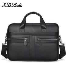 XDBOLO Men Genuine Leather Handbags Fashion Leather Shoulder Bag