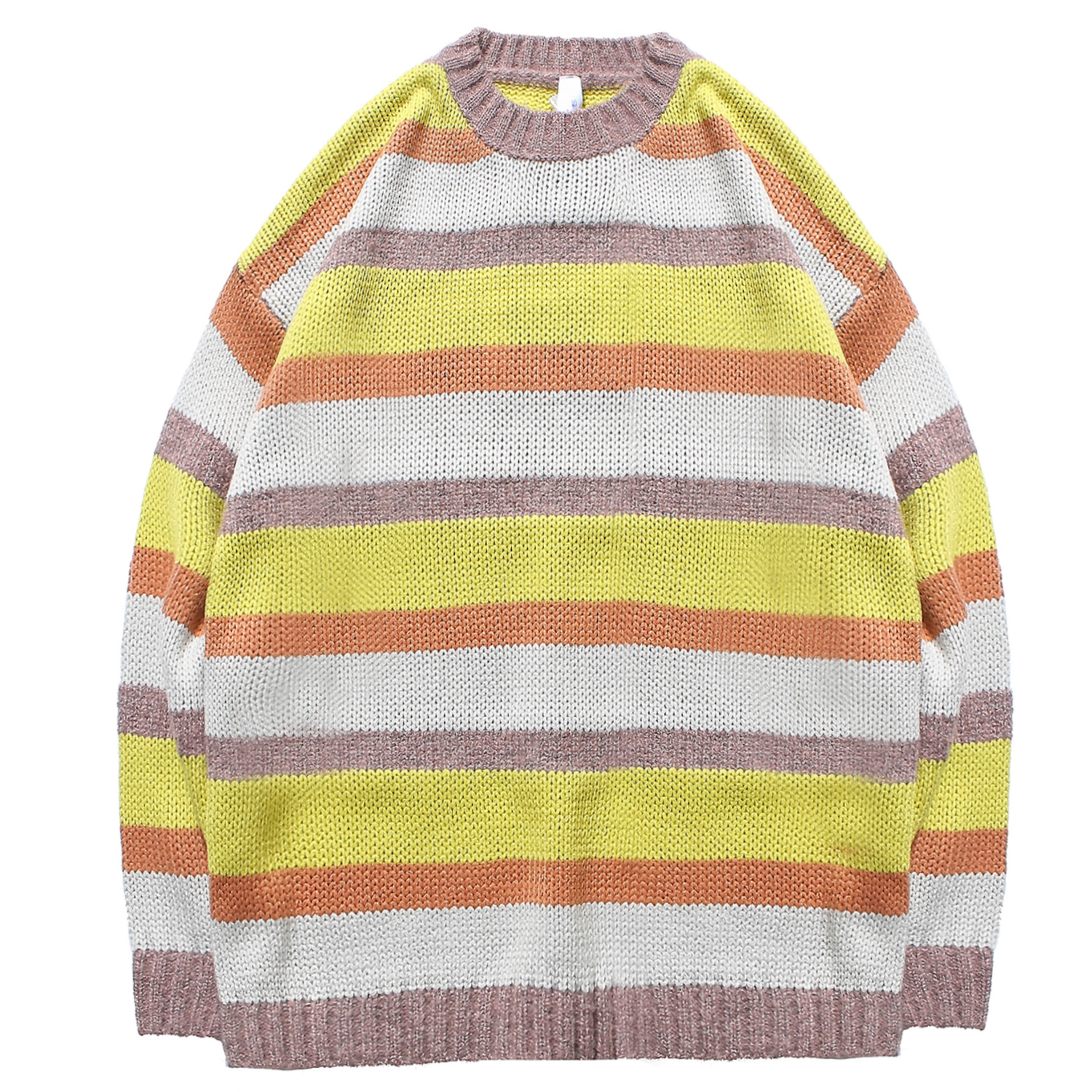 Men's Sweater Fine Knitted Stripe Jumpers Pullover Stitching Colors Crewneck Tops Comfort For Young Boys Outdoor Autumn Winter