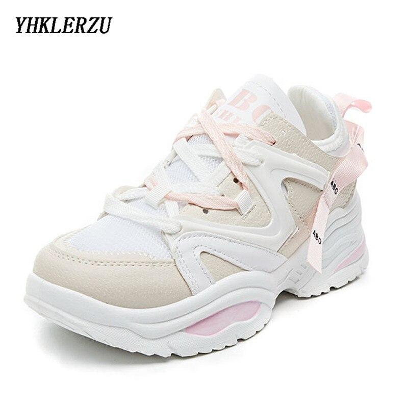 YHKLERZU Women Chunky Dad Sneakers Height Increasing 6 CM Female Outdoor Sport Shoes Athletic High Heel Cushioning Footwear