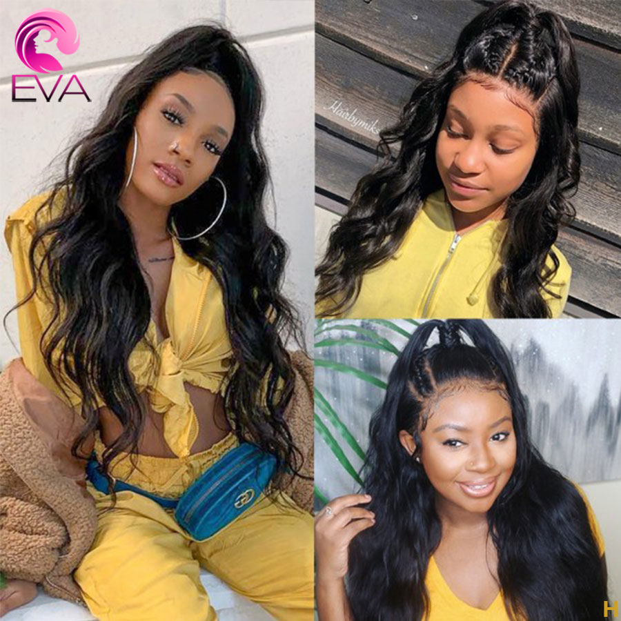Eva Hair Body Wave 250% Density 360 Lace Frontal Wigs Pre Plucked With Baby Hair Brazilian Remy Human Hair Wigs For Black Women
