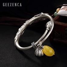 990 Sterling Silver Thai Handmade Craft Amber Resizable Bangles Lotus Leaf Flower Seed Bracelet Bangle Vintag Fine Jewelry Women