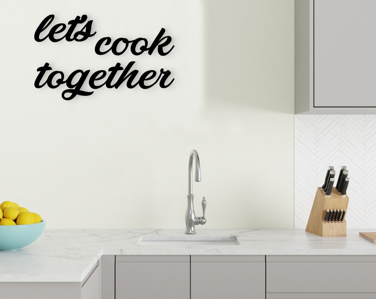 BK Home Let's Cook Together Wooden Wall Post Modern Convenient Reliable Decoration Gift Quality Design Simple Vicinity