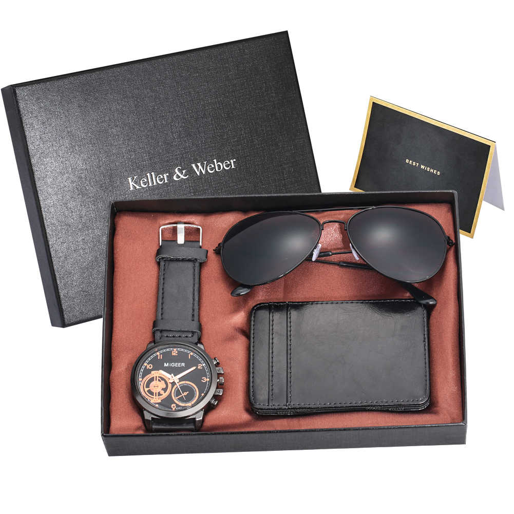 TOPยี่ห้อLuxuryของขวัญนาฬิกาชุดบุรุษแฟชั่นแว่นตากันแดดกระเป๋าสตางค์สีดำ/เคสหนังQUARTZนาฬิกาข้อมือที่ดีที่สุดของขวัญพร้อมกล่อง