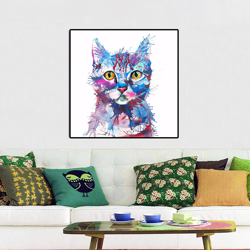Watercolor Cat Animal Canvas Painting Wall Art NO FRAME