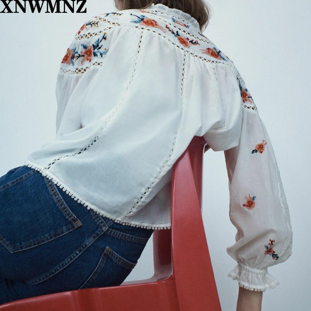Купить xnwmnz za блузка женская мода 2020 короткая рубашка женские