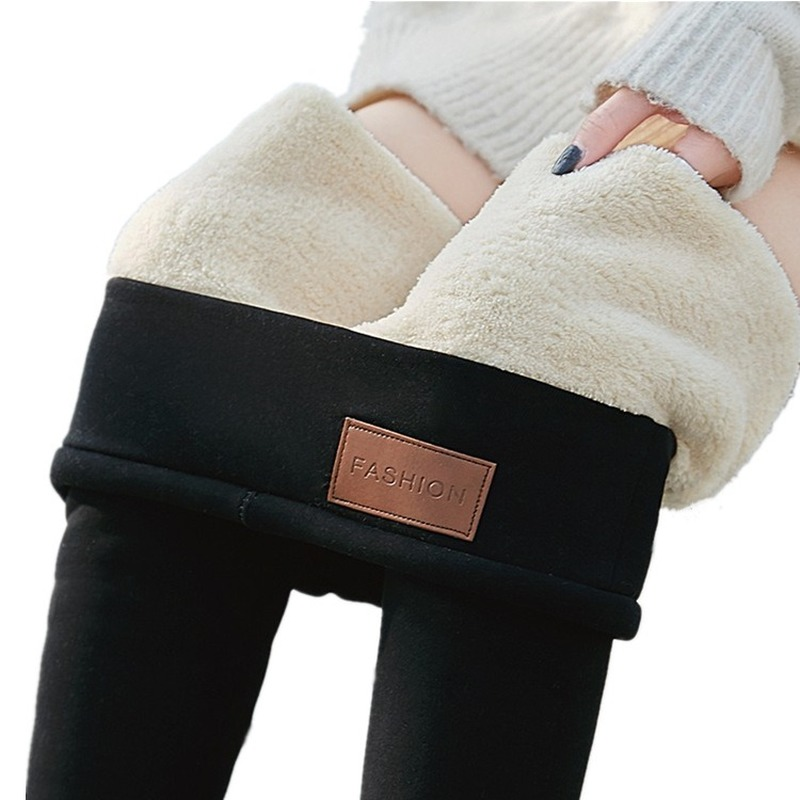 Women Black Warm Pants Autumn Winter Wool Fleece Trousers Lambskin Cashmere Pants For Skinny Thick Velvet Women Fashion Leggings