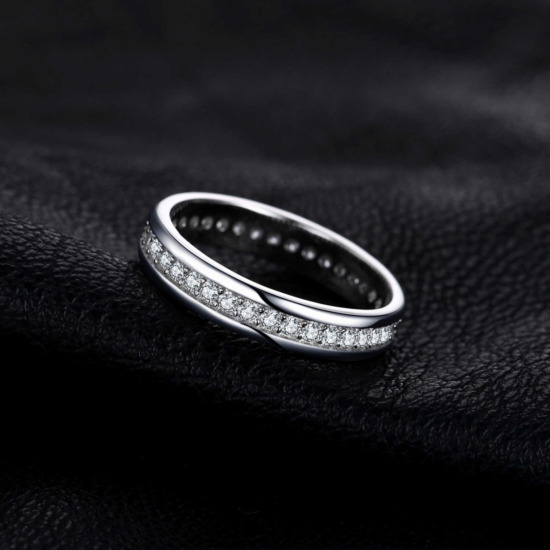 Jewelrypalace cz anéis de casamento 925 anéis de prata esterlina para mulher empilhável anel de aniversário eternity band prata 925 jóias