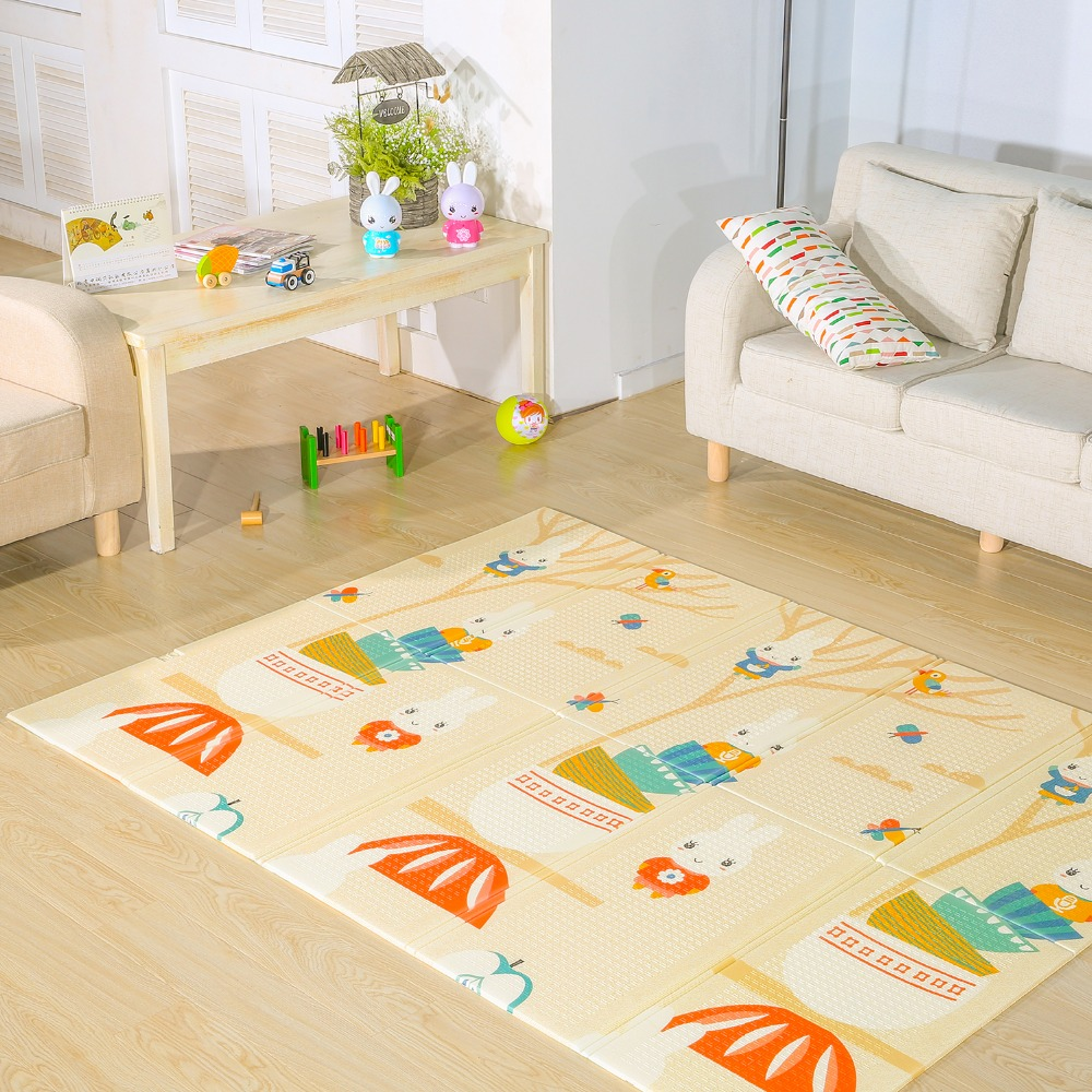 Folding Baby Play Mat Floor XPE 1CM Thick Foam Carpet Crawling Pad Living Room Home Mats Large Rug For Children