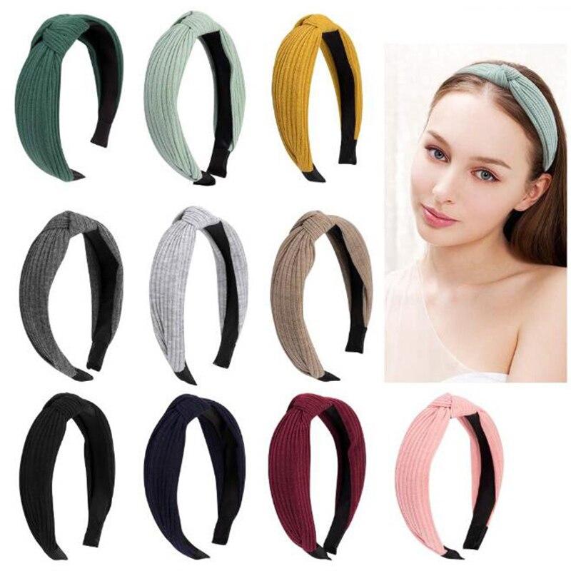 Женская Толстая широкая повязка на голову, обруч для волос с перекрестным узлом, ободок для волос для девушек, ободок для волос, головной убо...