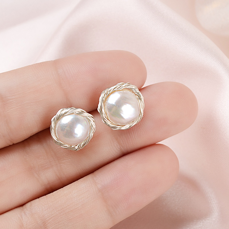 ASHIQI Handmade Real 925 Sterling Silver Stud Earrings for Women Natural Freshwater Pearl Jewelry Fashion Jewelry 2020 Gift