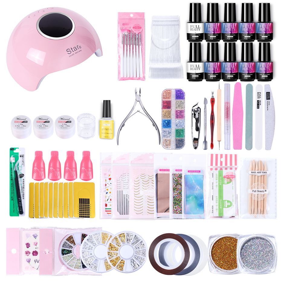 Manicure Set Nail Kit With Multiple Effects Gold Curved Straight Nail Lines Flower Nail Water Sticker UV Gel Polish Tool LE1582