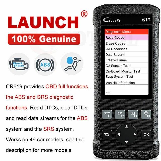 Lancio CR619 OBD2 strumento diagnostico per Auto motore ABS SRS Airbag leggi chiaro codice di errore Scanner automatico lancio OBD 2 Scanner aggiornamento gratuito LAUNCH X431