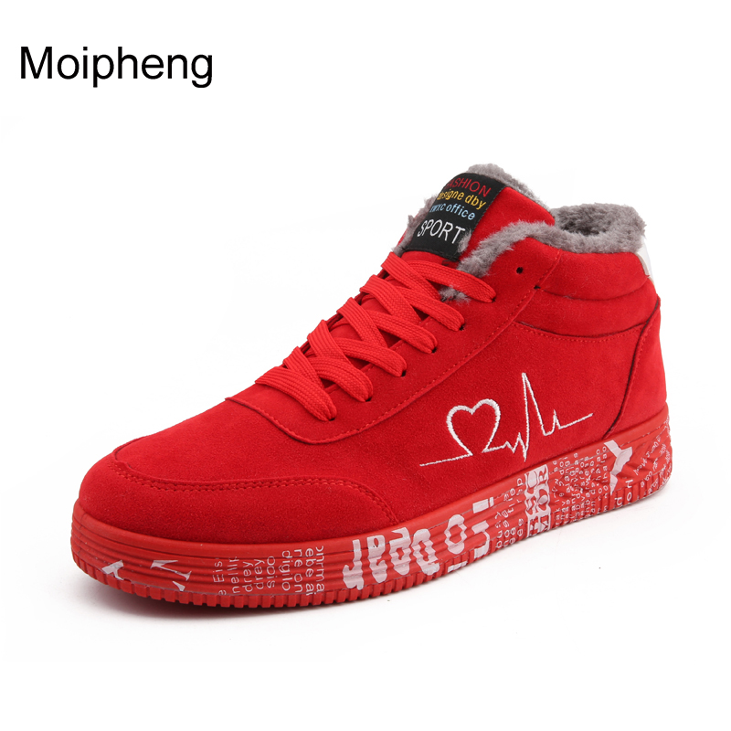 Moipheng 2019 Warm Plush Women Vulcanized Shoes Sneakers Ladies Lace-up Casual Shoes Breathable Flock Lover Shoes Graffiti Flat