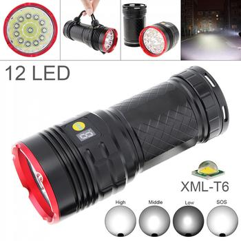Waterproof Power Display 10000 Lumens 12x XML T6 LED Tactical Flashlight Spotlight Lamp Torch 4 Mode for Outdoor Hunting Camping 20pcs panyue led flashlight xml t6 lantern torch 1000 lumens outdoor camping powerful tactical led flashlight torch waterproof