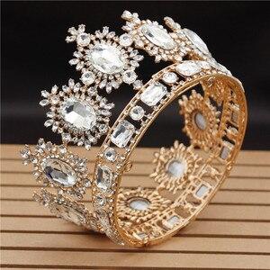 Image 2 - Ślub w stylu Vintage korona Big kryształ diadem i korony dla królowa stroik ślubny korowód biżuteria akcesoria do włosów