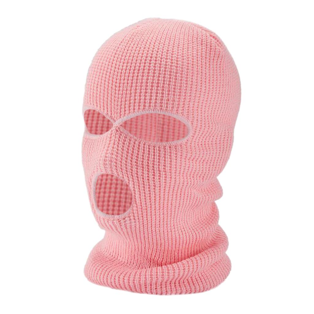 Winter Knit Ski Mask 3-Hole Balaclava Knit Knitted Full Face Ski Cover Mask Beanie Hat Adults Warm Outdoor Face Cover Sports