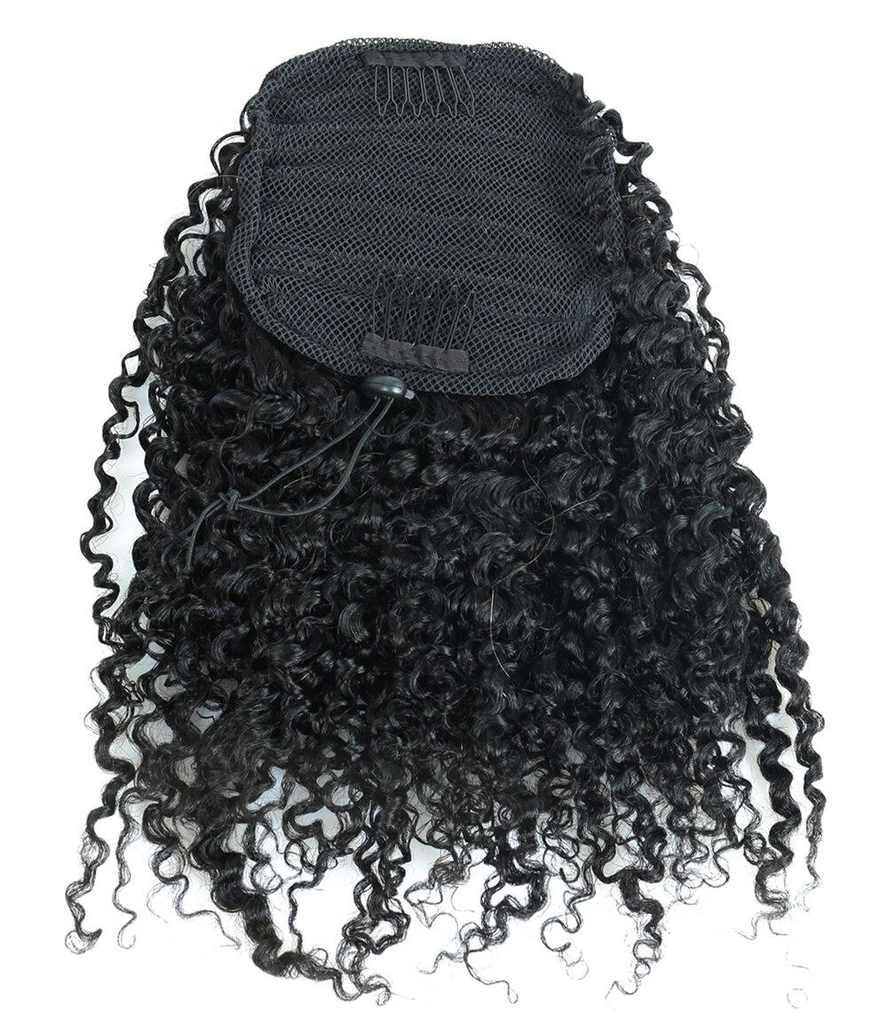 Crépus bouclés queues de cheval pour les femmes brésiliennes 100% pince à cheveux humains dans l'extension de cheveux naturel noir Dolago vierge cheveux produits - 4