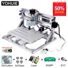 YOHUIE алюминиевый сплав CNC 3018P Лазерный гравер фрезерный станок с ЧПУ GRBL ER11 Хобби DIY гравировальный станок для дерева PCB ПВХ